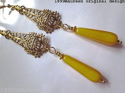 Art Deco Art Nouveau earrings filigree 1920s Edwardian vintage style LONG drop