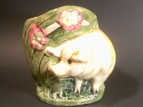 Antique Majolica Art Nouveau Piggy Pig and Pink Flowers Vase