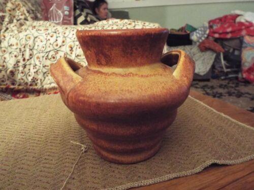 "Camark Dual Handled Vase with Mottled Rust Matt Glaze 5"" Tall"
