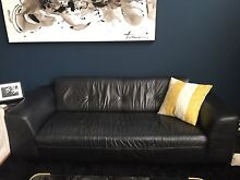 Black freedom leather sofa Tempe Marrickville Area Preview