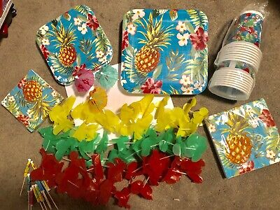 Hawaiian Party Supplies for Summer Luau or Beach Theme, Plates, Napkins, Cups
