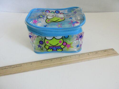 1998 Sanrio Keroppi Frog Green Vinyl Bath Bag Set Sponge Travel Cup Toothbrush