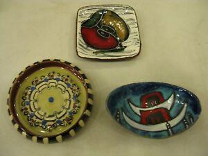 3 x Beautiful Vintage Retro Foreign/Italian Handmade Pottery Small Pin Dishes UK