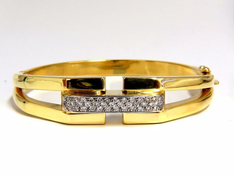 Bangle Bracelet 14kt .70ct Round Natural Diamonds Raised Bar Mod Deco+