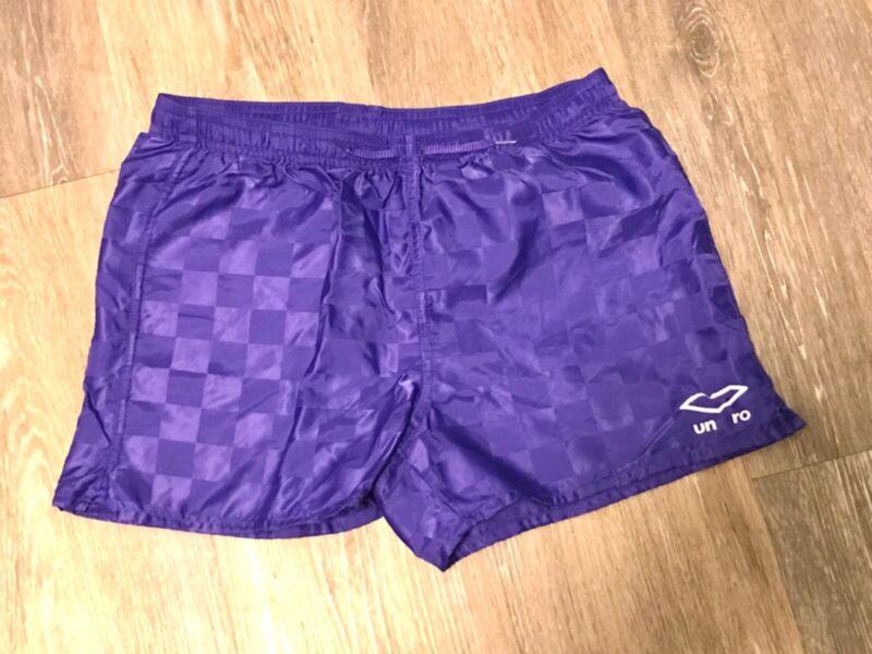 Vintage Umbro Purple Checkered Athletic Nylon Soccer Shorts Youth Large