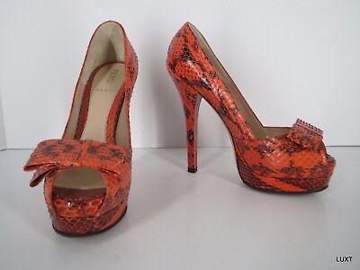 Fendi Heels Pumps Platform Size 6 36 Leather Snakeskin Orange Black Peep Toe Bow