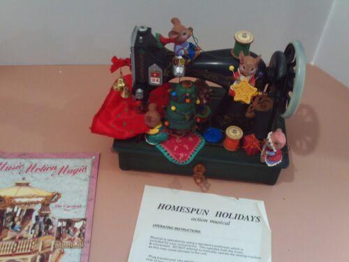RARE Enesco Homespun Holidays Sewing Machine Multi-Action/Deluxe Musical