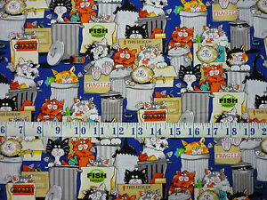 Kanvas Alley Cat Back Street Kitty Royal Cotton Quilting Fabric 1/2 YARD