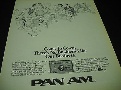 Pan Am American Express Credit Card 1988 Promo Display Ad Mint Condition