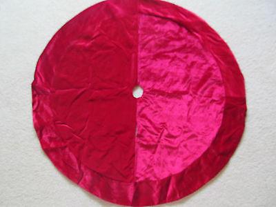 """Large 48"""" Plush Velvet Christmas Tree Skirt True Solid Red with Satin Bottom"""