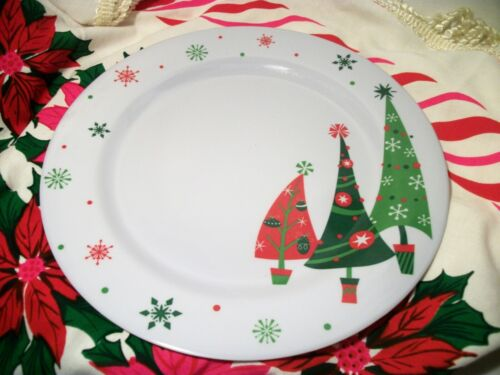 Retro Look Christmas Tree plastic melamine Dinner Serving Plates 10 7/8 In