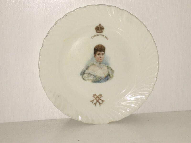 Queen Alexandra 1902 Coronation Portrait Plate Porcelain