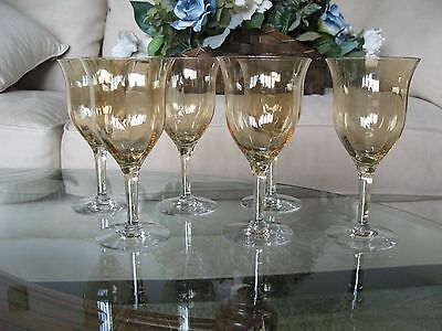 SIX MOTHER OF PEARL Fostoria WATER WINE Glasses Goblets Pale Amber GORGEOUS!!