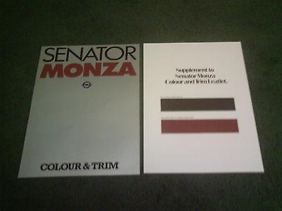 September 1979 OPEL MONZA & SENATOR UK COLOUR & TRIM CHART BROCHURE + SUPPLEMENT