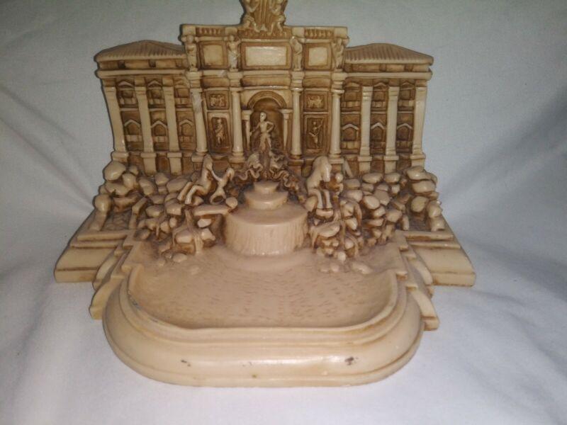 Vintage Italian Bonded Marble Souvenir Sculpture TREVI FOUNTAIN - Signed