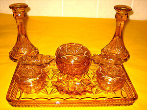 ART-DECO-AMBER-YELLOW-GLASS-DRESSING-TABLE-SET-2-5-449