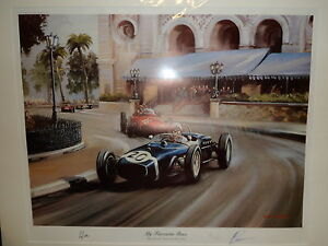 STIRLING MOSS ORIGINAL HAND SIGNED & MOUNTED PRINT MY FAVOURITE RACE MONACO LOT