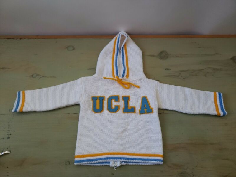 Vintage Baby Hand Knit Hooded Talon Zipper Back Sweater UCLA Blue Gold Rare