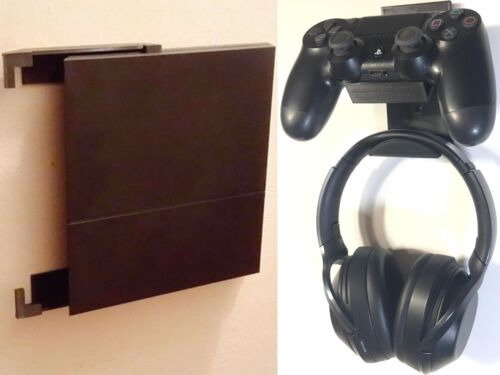 Wall Mount Brackets - PS4 Console & Controllers & Headphones - MADE IN USA