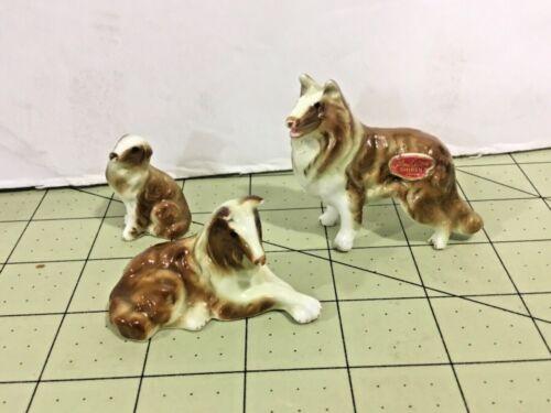 VINTAGE Japan BONE CHINA COLLIE FAMILY MINIATURE DOG FIGURINE SET, FREE Ship!