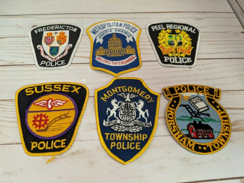 6 Police Embroidered Badge Patch Lot