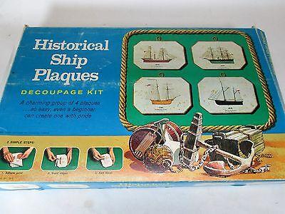 Vintage 1973 Historical Ship Plaques Decoupage kit Connoisseur Studio