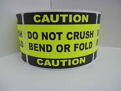 50 Caution Do Not Crush Bend Or Fold 2x3 Sticker Label Chartreuse Bkgd