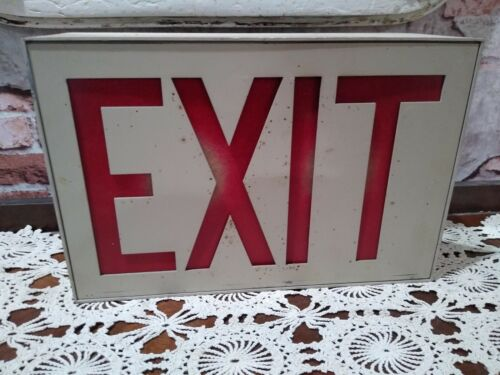 VINTAGE INDUSTRIAL METAL EXIT BOX SIGN Wall Mount