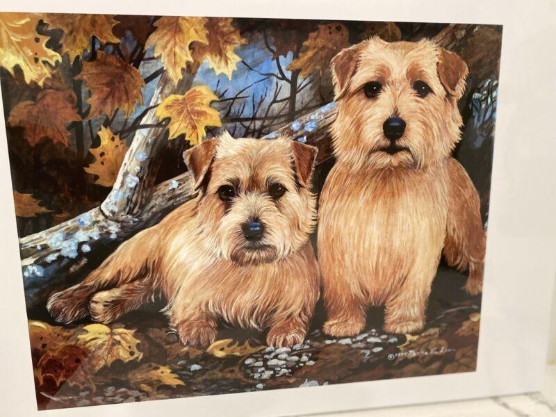 Norfolk Terrier Pair Signed Ltd Ed Print By Van Loan
