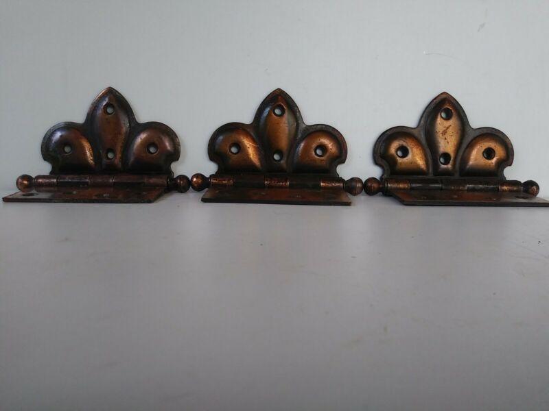 """antique offset butterfly./flashed door hinges vintage/Japanned SET of(3)     4"""""""