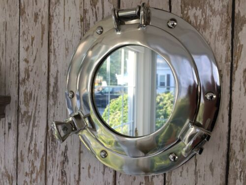 "9"" Porthole Mirror ~ Chrome Finish ~ Nautical Wall Decor ~ Ship Cabin Window"