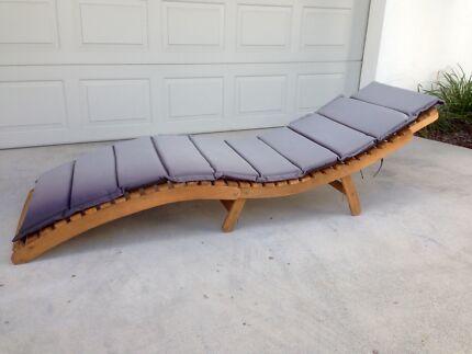 Timber deck sunlounger