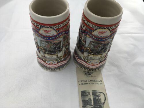Miller Vintage Stein Set Great American Achievements 119627 Brazil Ceramarte