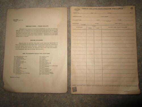 Vintage Canadian National Railways Train Delays & Engine Failures forms ca 1930s