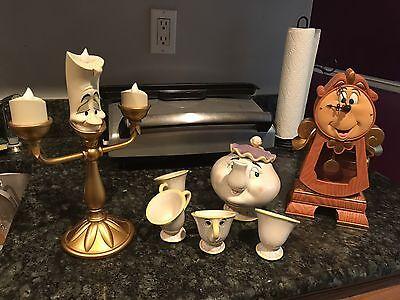 Disney Beauty And The Beast Lumiere, Mrs. Potts, Cogsworth Statue Figure Lot