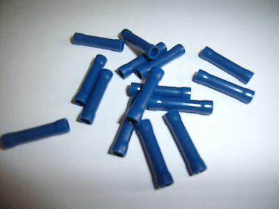 (100) Car Audio/Alarm Wire Butt Connector Blue Vinyl 16-14 AWG Gauge Ga Terminal