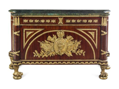 French/Antique Style commode,  A Louis XVI Style Gilt Metal Mounted Mahogany