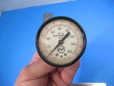 Vintage C. A. Norgren Hydraulic Pressure Gauge Meter 160 Psi Steampunk V25 B1
