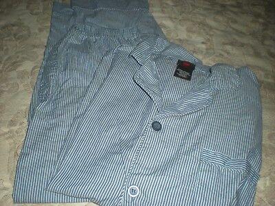 Hanes Blue & White Striped Pajamas - Size Large ()