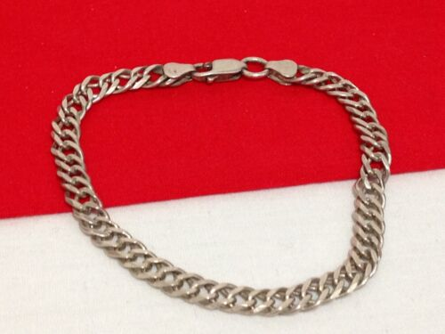 """Vintage ITALY 925 Solid Sterling Silver Curb Cuban Link Style Bracelet 7.25"""""""