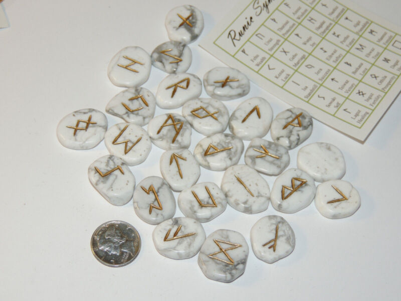 Howlite Engraved Rune Stone Set, with Runic Symbols Chart  and Cloth Bag (10547)