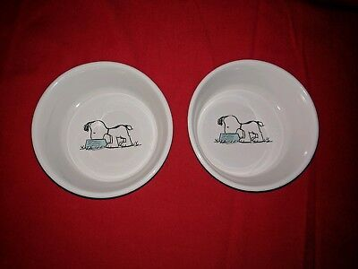 Snoopy Ceramic Dog Bowl for Pets Food or Water Peanuts Comic Strip C. Schulz