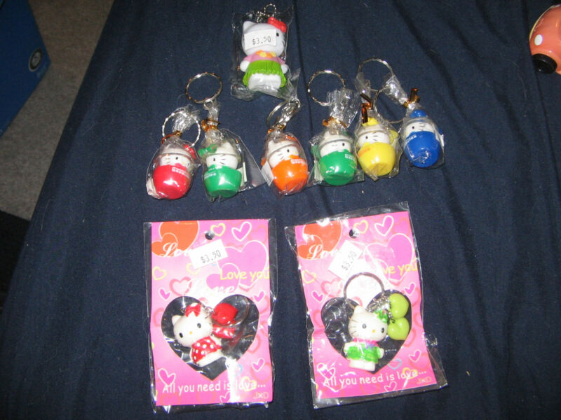 Lot of 9 nine Hello Kitty Keychains Keyrings Keytags NEW