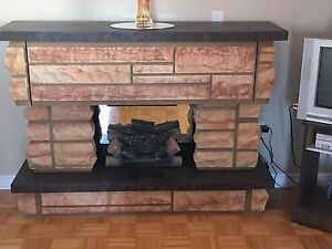 Electric Fireplace w/Built-In Record Player&Radio