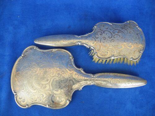 Antique 835 Silver Engraved Hand Mirror & Brush Set