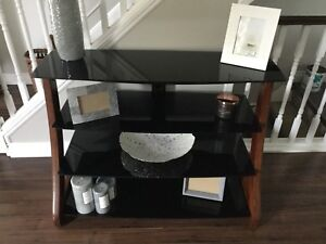 4 Tier glass TV/ wood Stand, entertainment unit