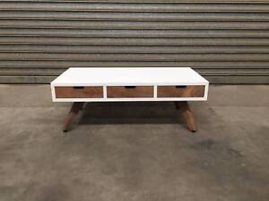 NEW COFFEE TABLE: DOMENIQUE WHITE-N-TIMBER THREE DRAWERS STYLISH Leumeah Campbelltown Area Preview
