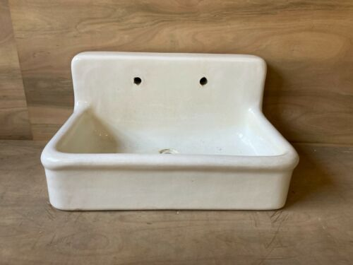 """Rare Early Antique 36"""" High Back Heavy Earthenware Kitchen Sink Old Vtg 662-20E"""