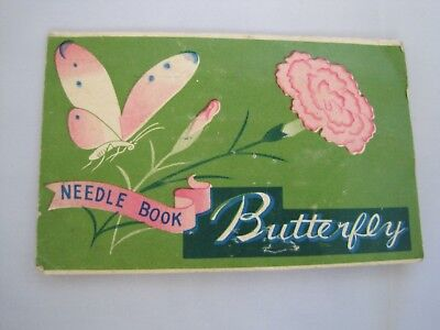 NEEDLE BOOK Butterfly Vintage