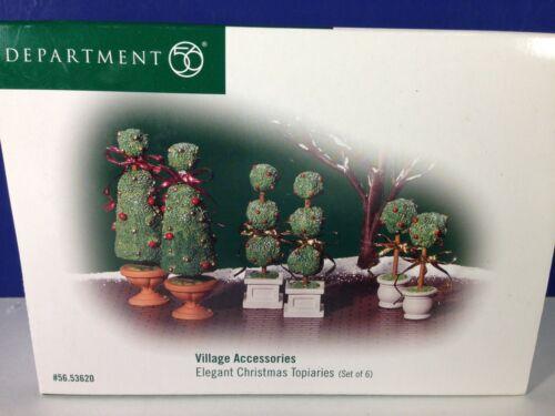 Dept 56 Heritage Village ELEGANT CHRISTMAS TOPIARIES Set of 6 56.53620 New!